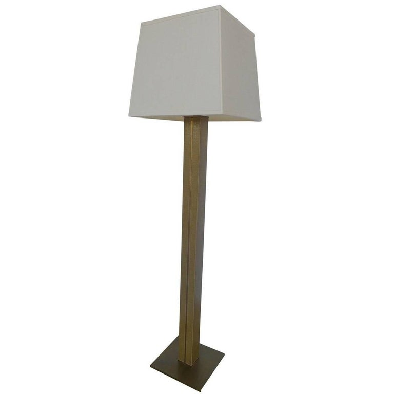 Karl Springer Mid-Century Linen and Brass Floor Lamp 1