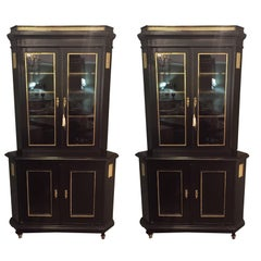 Pair of Fine Bronze-Mounted Maison Jansen Style Corner Cupboard/Display Cabinets