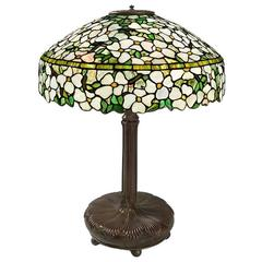 "Tiffany Studios New York ""Dogwood"" Glass and Bronze Table Lamp"