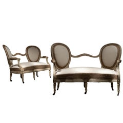 Pair of French 19th Century Painted Sofas