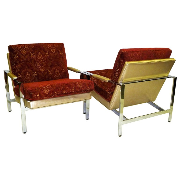 Pair of 1960s Milo Baughman Lounge Chairs for Thayer Coggin Gold Red and Chrome