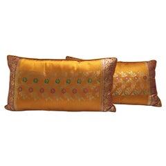 Pair of Orange Silk Pillows Custom Made from Indian Wedding Saris