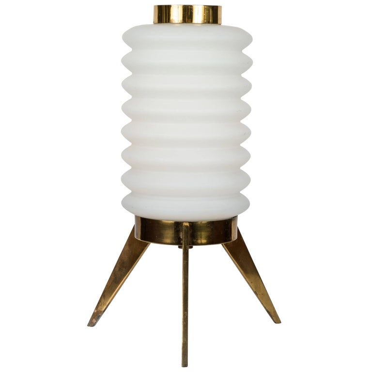 1950s Angelo Lelli Glass and Brass Tripod Table Lamp for Arredoluce