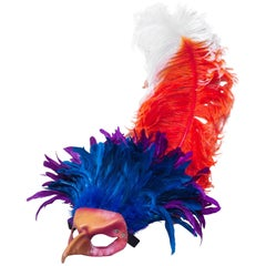 Colorful Feathered Leather Bird Mask