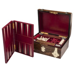 Antique Backgammon Chess Games Compendium Poker Box with Ornate Brasswork