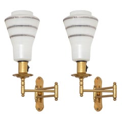 Mid-Century Adjustable Brass Wall Lamps
