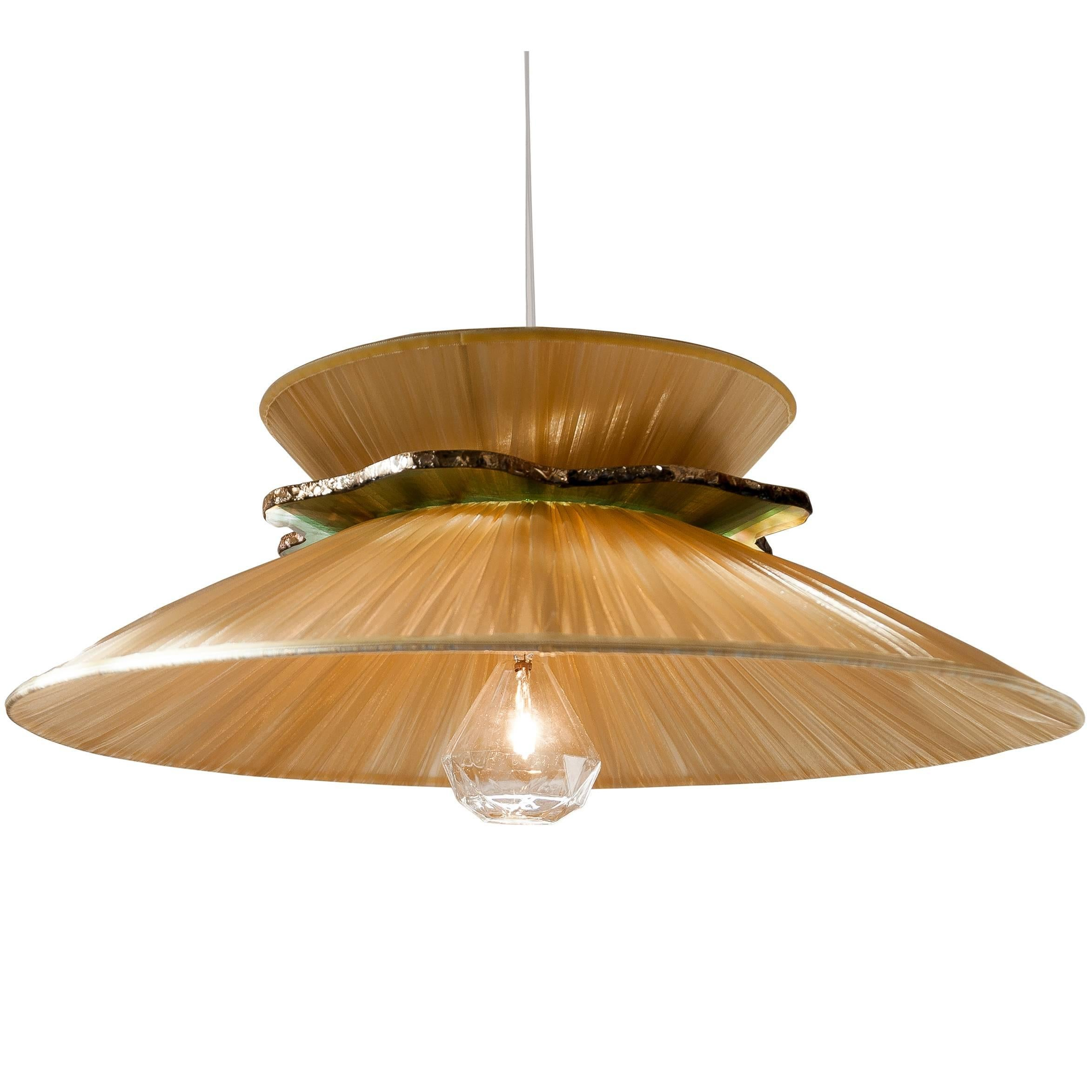Daisy contemporary Hanging Lamp, honey Silk, silvered neacklace Glass, brass