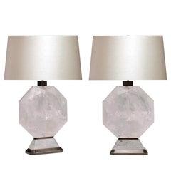 Pair of Octagon Form Rock Crystal Quartz Lamps