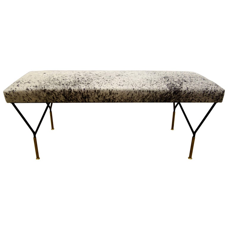 Italian Mid-Century Style Metal and Brass Bench in Black and White Cowhide 1