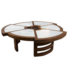 Modern Coffee Table in Walnut and Marble Inlay