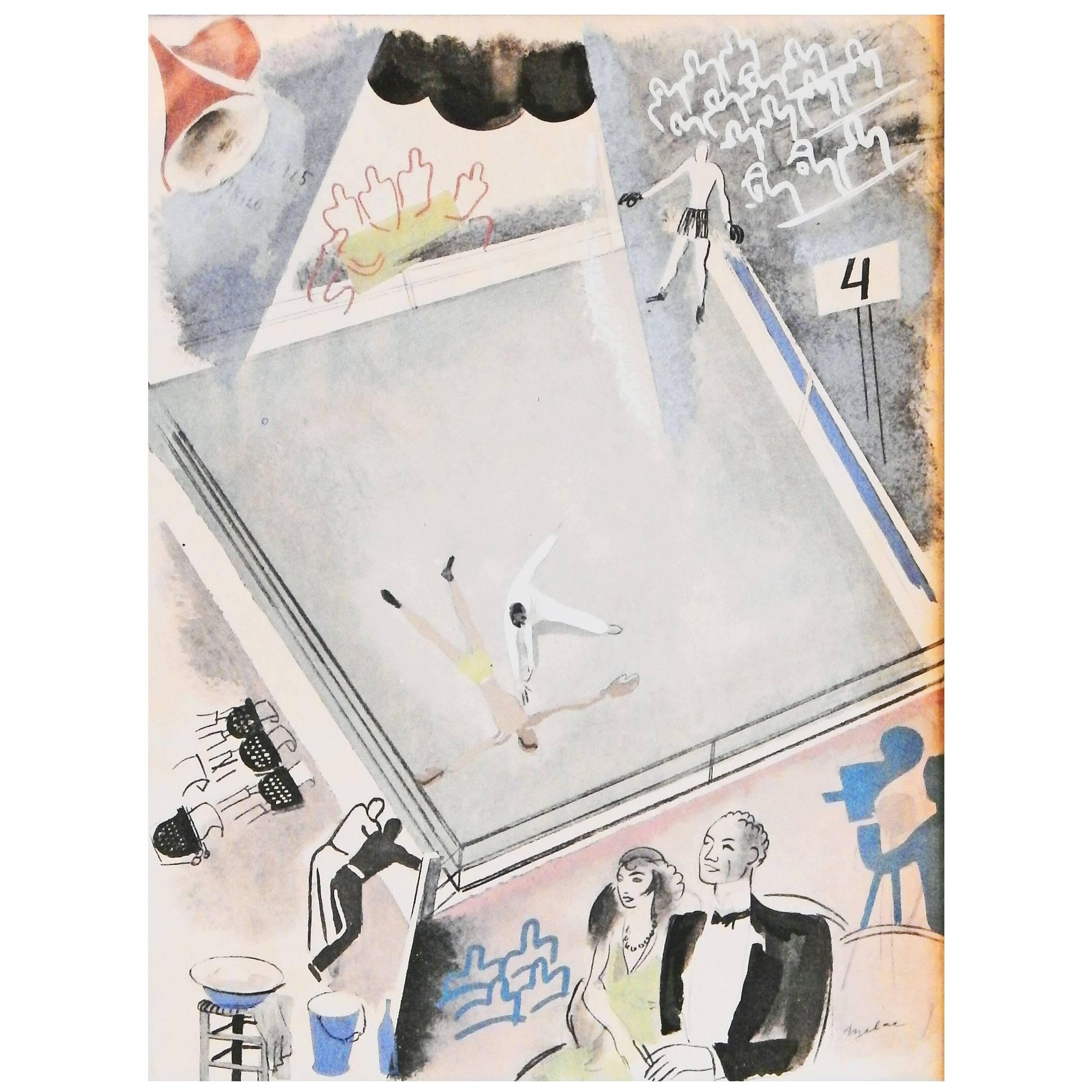 """""""At the Ring,"""" Rare Art Deco-Cubist Olympics Print Depicting the Boxing Arena"""