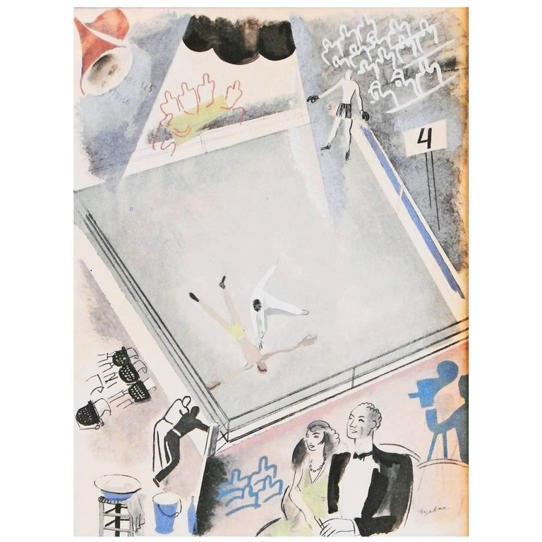 """""""At the Ring,"""" Rare Art Deco-Cubist Olympics Print Depicting the Boxing Arena For Sale"""