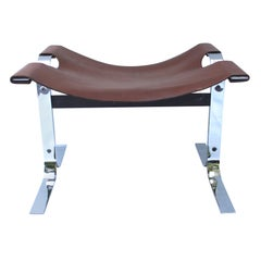Modern Leather and Steel Sling Stool or Bench