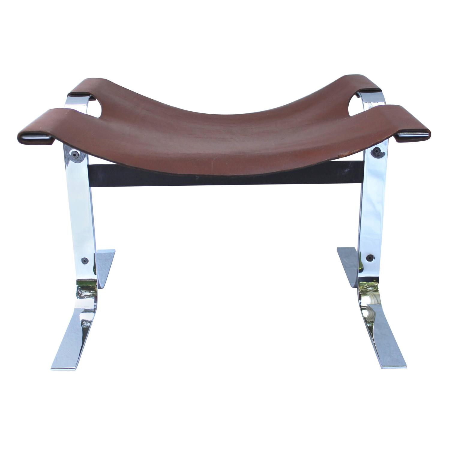 Leather Benches Modern Part - 40: Modern Leather And Steel Sling Stool Or Bench