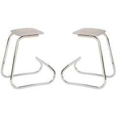 Pair of Embossed Mid-Century Modern Counter Stools by Charles Stendig