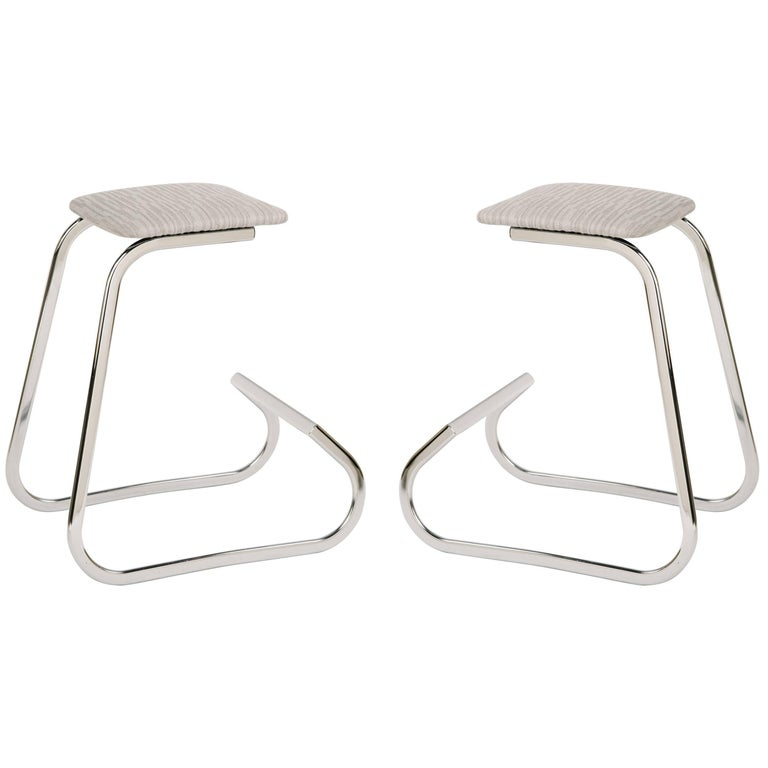 Pair of Embossed Mid-Century Modern Counter Stools by Charles Stendig For Sale