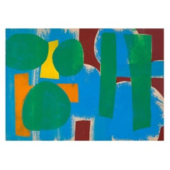 Benjamin Abramowitz Abstract Modern Painting Green Play, 1962