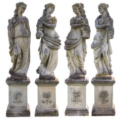 Extraordinary Set of Italian Stone Figures Representing the Four Seasons