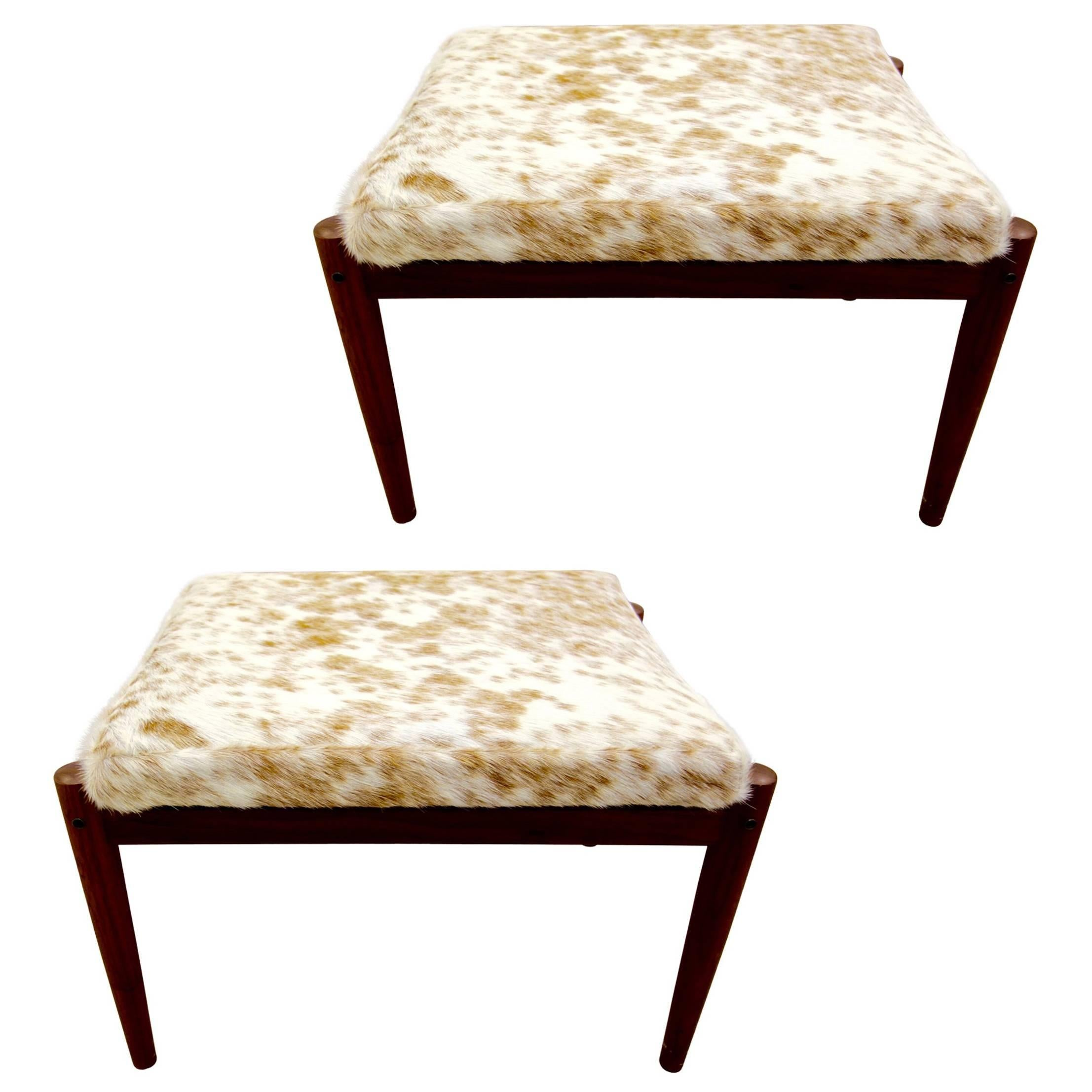 Pair Of Borge Jensen Danish Ottomans in Brown and White Cowhide