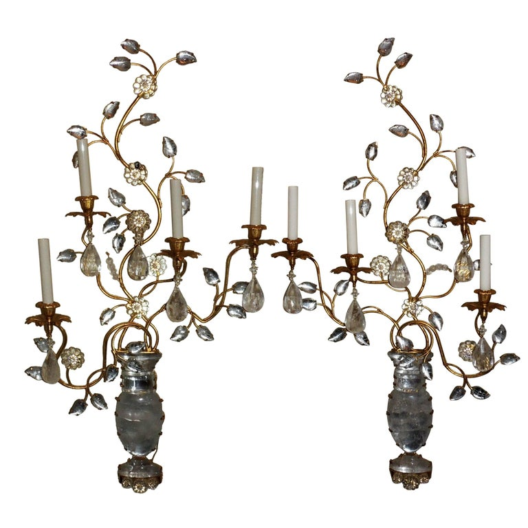 Monumental Pair Bagues Jansen Rock Crystal Floral Spray on Urn Gold Gilt Sconces
