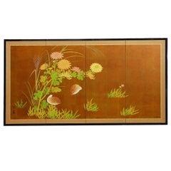 Japanese Four-Panel Byobu Screen of Quail and Flowers