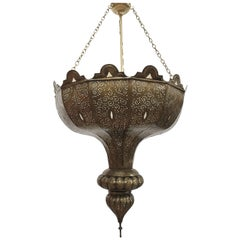 Large Brass Moroccan Moorish Chandelier in Alberto Pinto Style