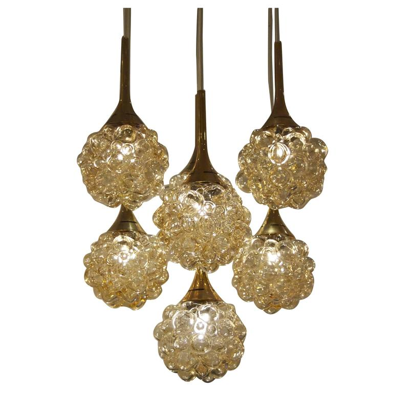 Amber-Tone Bubble Pendant Chandelier with Brass Accents For Sale