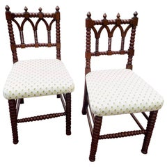 Handsome Pair of Gothic Revival Hall Chairs, circa 1840