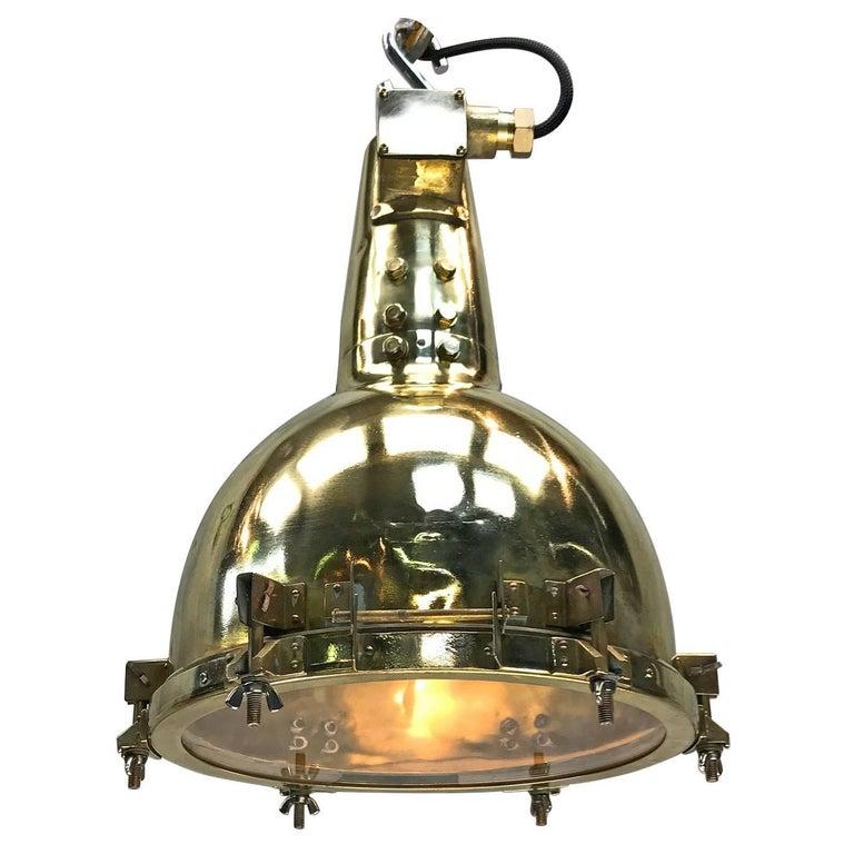 1970s Japanese Brass Marine Nautical Searchlight Pendant Lamp, Edison E40-E27