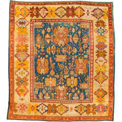 19th Century Orange and Blue Square Turkish Oushak Rug