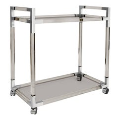 Jacques Smoke Lucite and Nickel Bar Cart