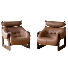 Chic Matched Pair of Percival Lafer Lounge Chairs in Leather and Rosewood