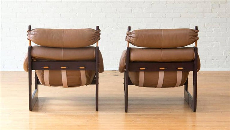 Chic Matched Pair of Percival Lafer Lounge Chairs in Leather and Rosewood 2