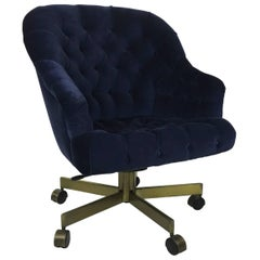 Tufted Velvet Executive Swivel Desk Chair by Edward Wormley for Dunbar