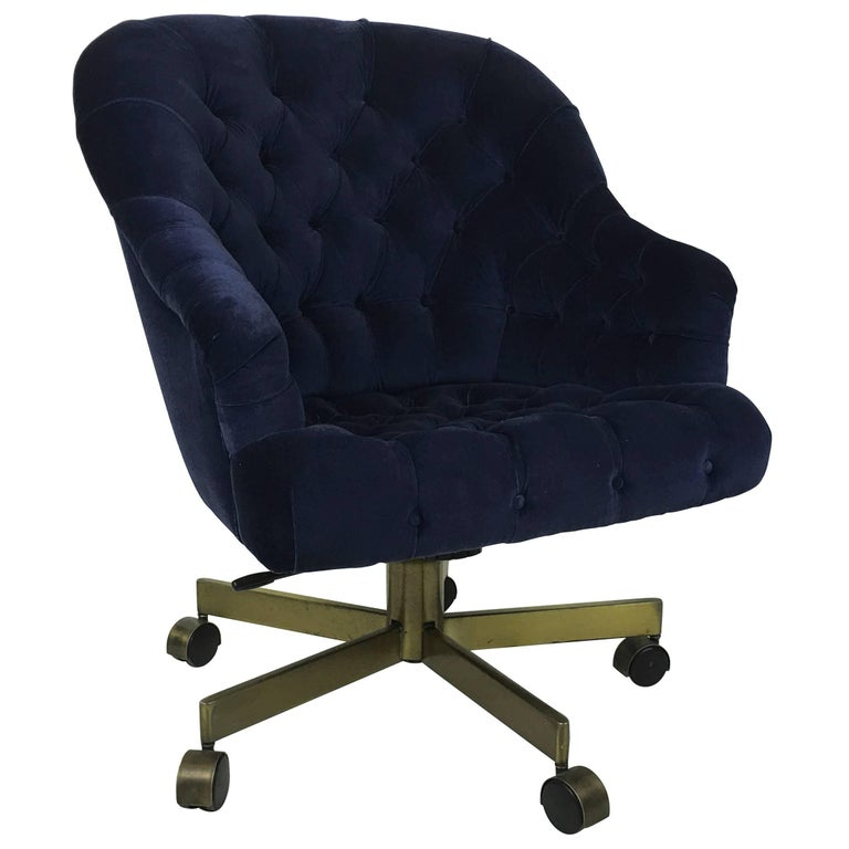 Tufted Velvet Executive Swivel Chair by Edward Wormley for Dunbar For Sale