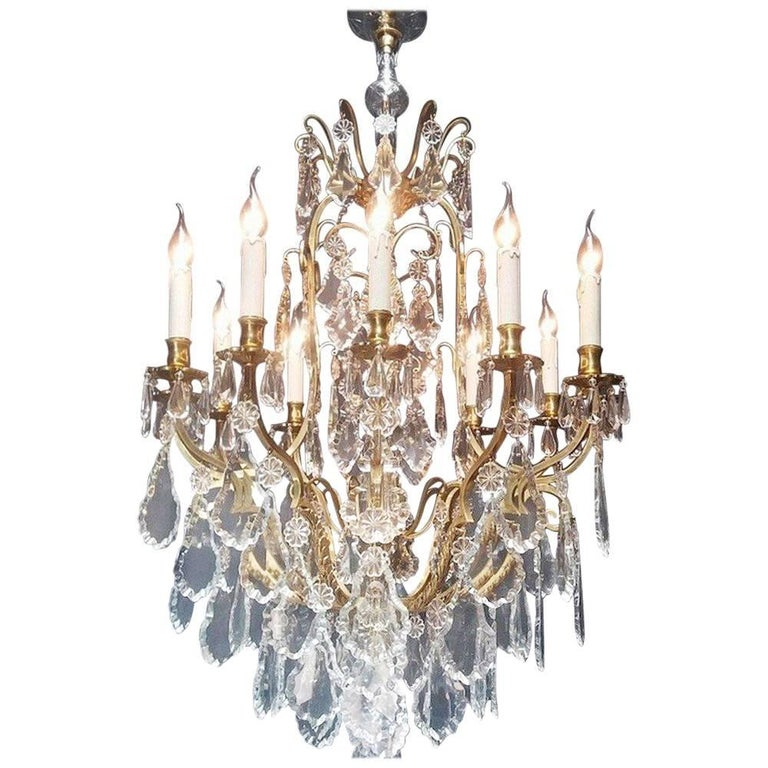 Large 20th Century French Bronze Chandelier with 12 Lights, Brass and Crystal