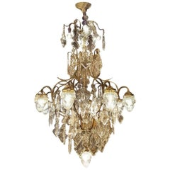 Large French Chandelier with 13 Lights and Beautiful Glass Shades, Early 1900