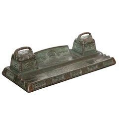 Double Bronze Inkwell/Pentray by Gustav Gurschner