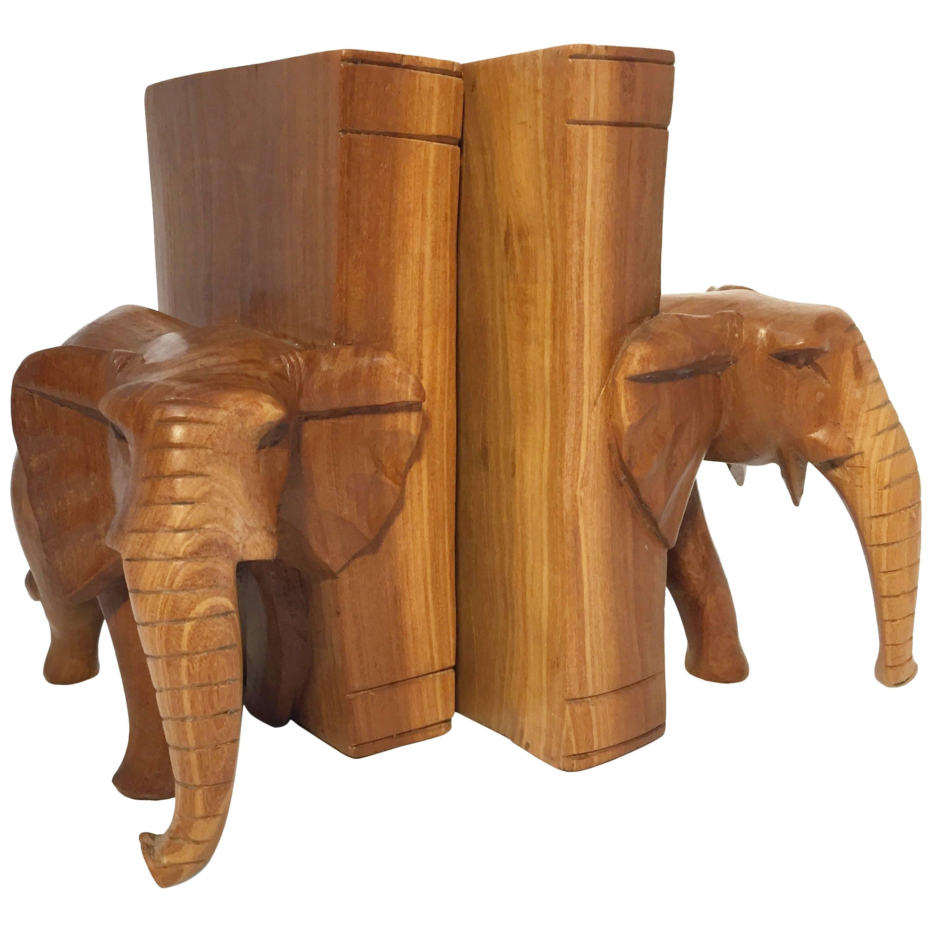 Hand-Carved Wood Elephant Bookends
