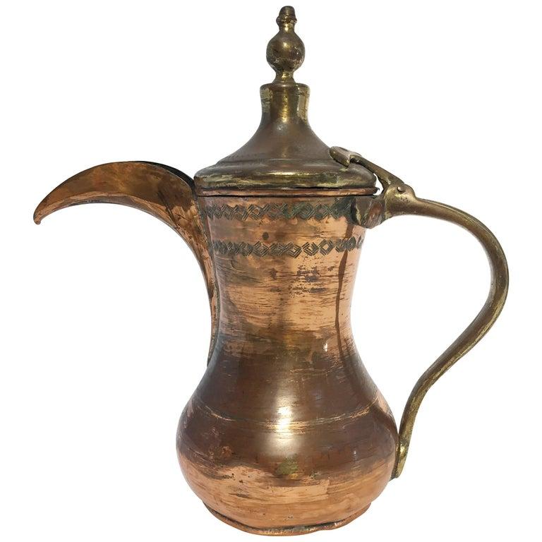 19th Century Middle Eastern Arabic Dallah Copper Coffee Pot