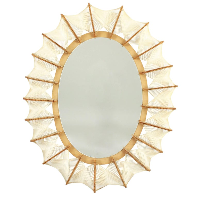 Superb Mid-Century Modern Wicker and Wood Oval Mirror, France, 1960s