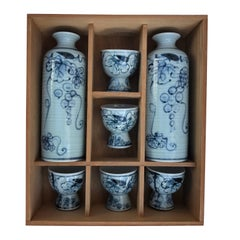 Authentic Old Japanese Blue & White Sake Service for Five  Mint, Signed & Boxed