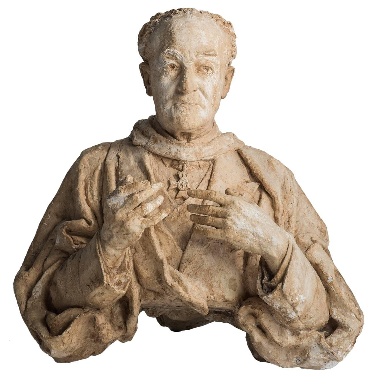 Plaster Bust of a Priest by Maurice Lambert, circa 1950