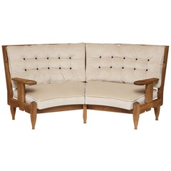 Guillereme et Chambron Oak Loveseat Geometric Pattern, France, 1960s