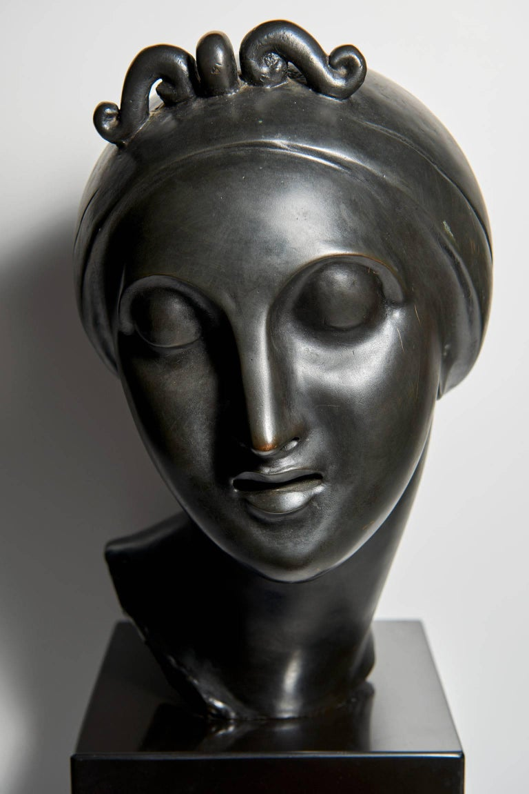 """""""Ideal Head"""" Bronze by Elie Nadelman In Good Condition For Sale In Los Angeles, CA"""