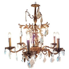 Spanish Chandelier with Nine Lights, Three Small Kids on the Frame, Mid-1900