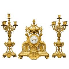 Fine Gilt Bronze Neoclassical Clock Garniture