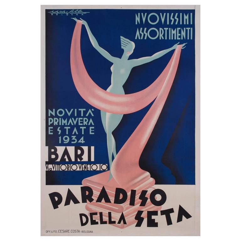 italian art moderne poster for silk fabric 1934 at 1stdibs. Black Bedroom Furniture Sets. Home Design Ideas