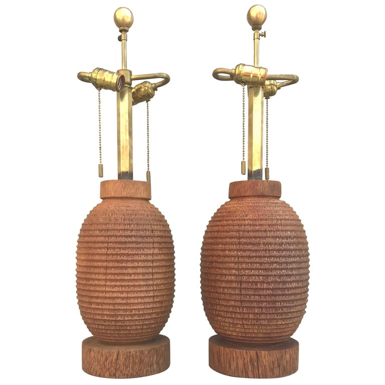 Fabulous Sculptural Pair of 1980s Angelo Donghia Turned Wood Table Lamps For Sale