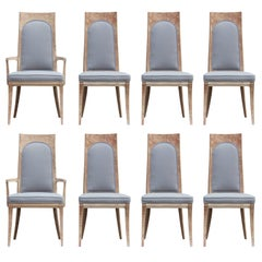 Modern Set of Eight Mastercraft Bleached Burl and Light Grey Dining Chairs